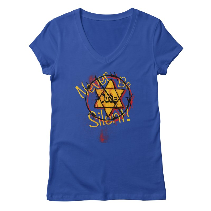 Never Be Silent! Women's V-Neck by Americans Against Antisemitism's Artist Shop