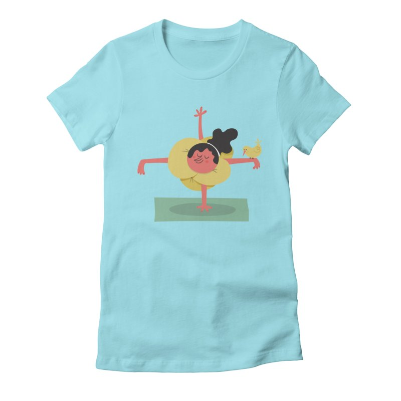 I Love Yoga Women's Fitted T-Shirt by amirabouroumie's Artist Shop