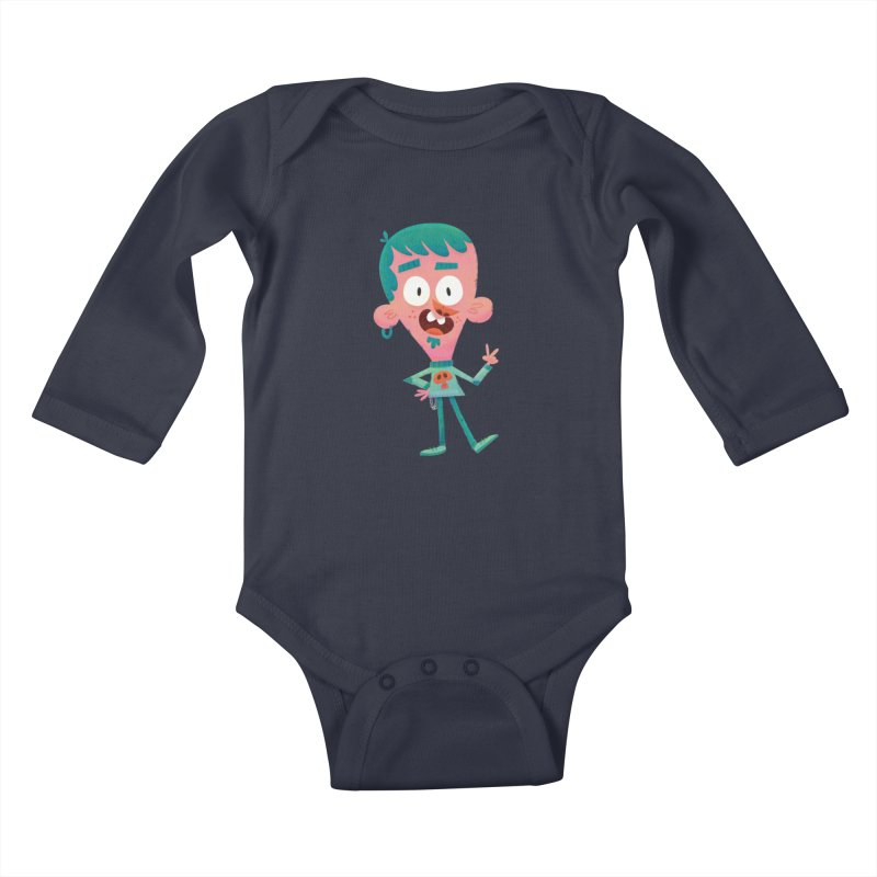Rock On - Cartoon Rocker Kids Baby Longsleeve Bodysuit by amirabouroumie's Artist Shop