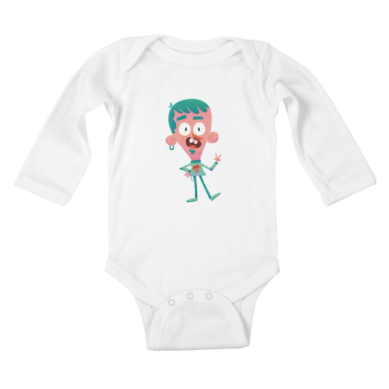 Rock On Kids Baby Longsleeve Bodysuit by amirabouroumie's Artist Shop