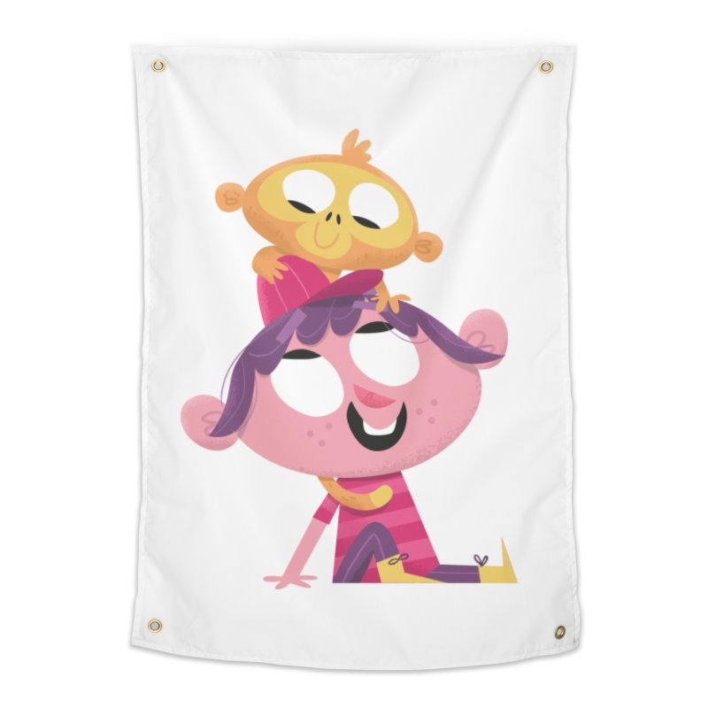 Best Friends Forever - Girl with her pet monkey Home Tapestry by amirabouroumie's Artist Shop
