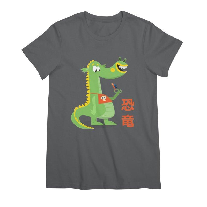 Cute Vintage Flat Cartoon Dinosaur Japanese Women's T-Shirt by amirabouroumie's Artist Shop