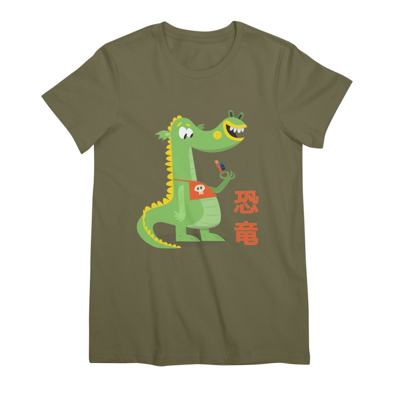 Cute Vintage Flat Cartoon Dinosaur Japanese Women's Premium T-Shirt by amirabouroumie's Artist Shop