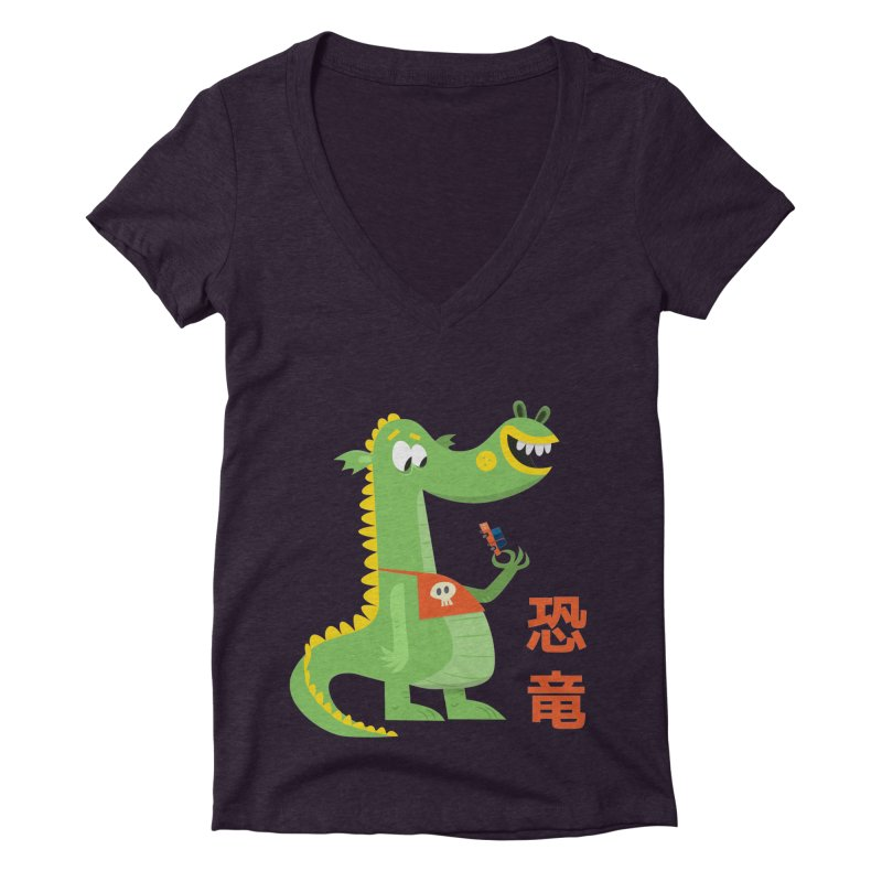 Cute Vintage Flat Cartoon Dinosaur Japanese Women's Deep V-Neck V-Neck by amirabouroumie's Artist Shop