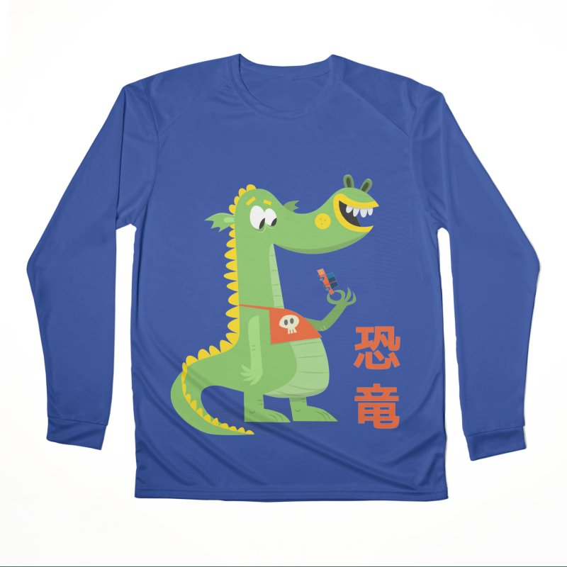 Cute Vintage Flat Cartoon Dinosaur Japanese Men's Performance Longsleeve T-Shirt by amirabouroumie's Artist Shop
