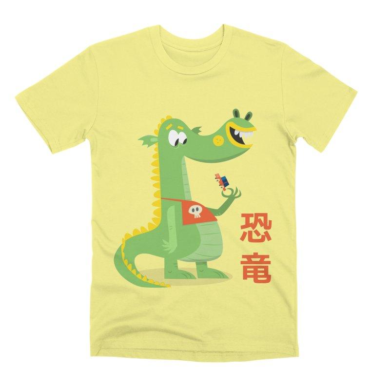 Cute Vintage Flat Cartoon Dinosaur Japanese Men's Premium T-Shirt by amirabouroumie's Artist Shop