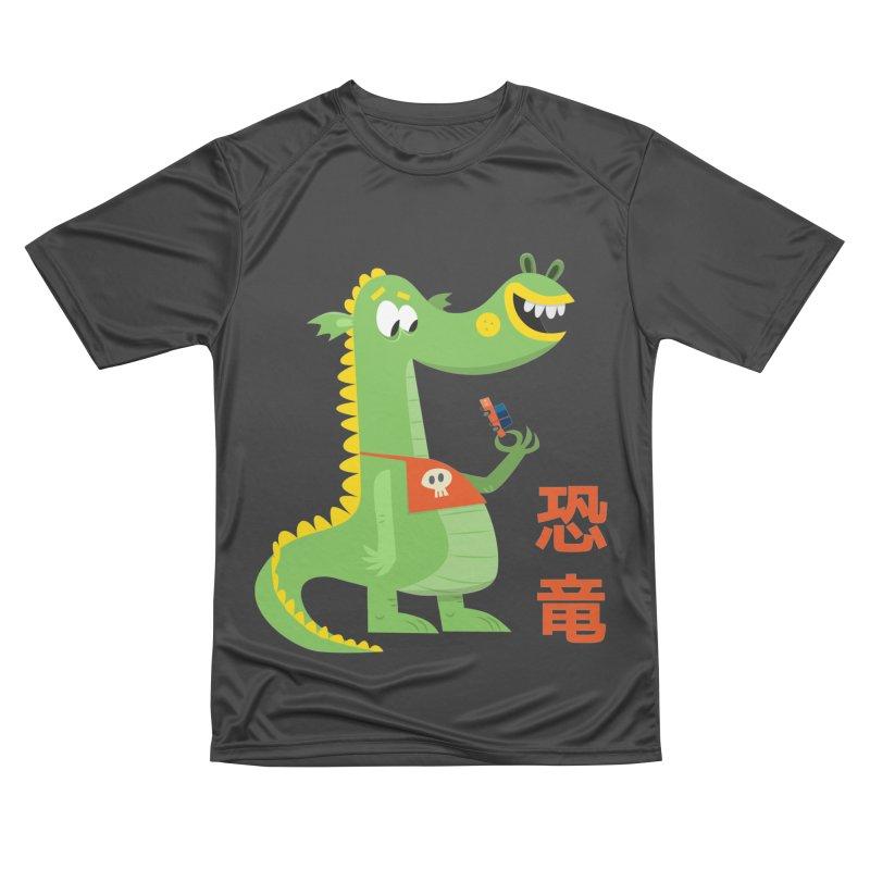 Cute Vintage Flat Cartoon Dinosaur Japanese Men's Performance T-Shirt by amirabouroumie's Artist Shop