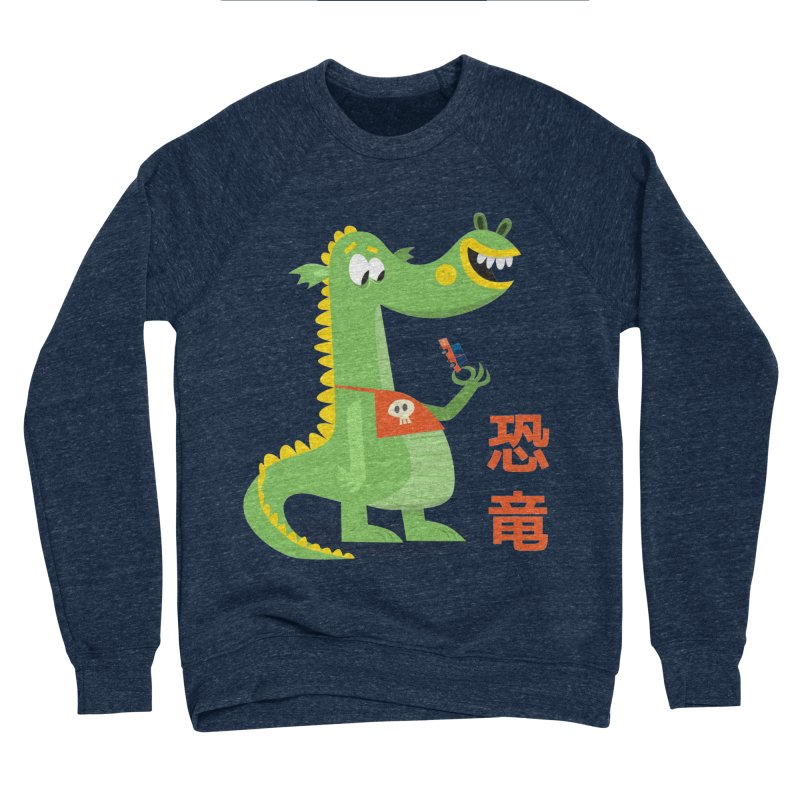 Cute Vintage Flat Cartoon Dinosaur Japanese Men's Sponge Fleece Sweatshirt by amirabouroumie's Artist Shop