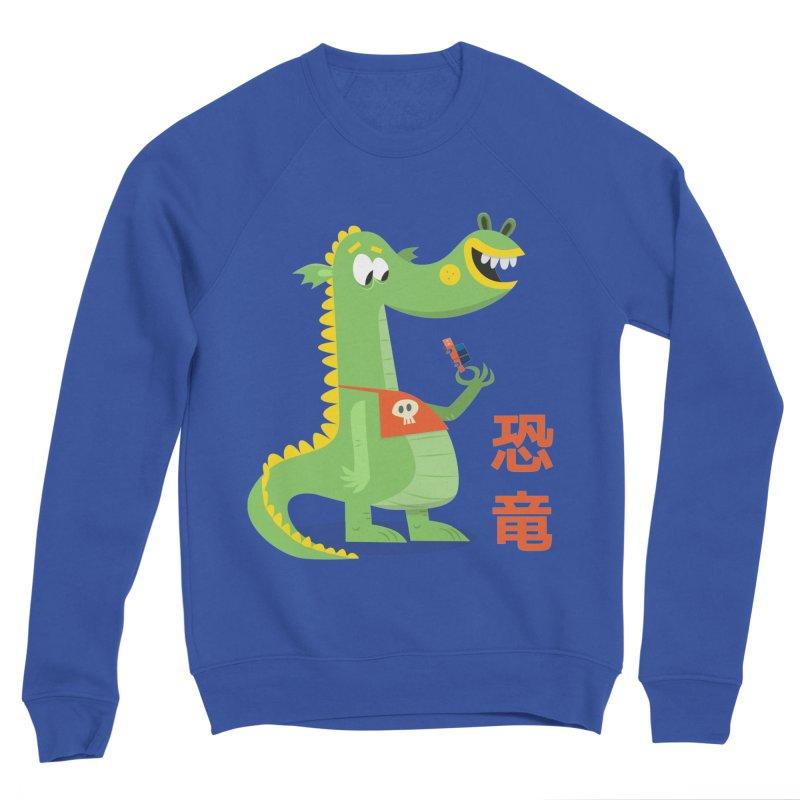 Cute Vintage Flat Cartoon Dinosaur Japanese Women's Sponge Fleece Sweatshirt by amirabouroumie's Artist Shop