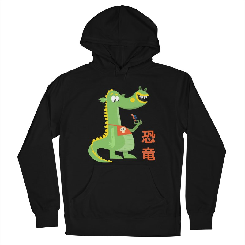 Cute Vintage Flat Cartoon Dinosaur Japanese Women's French Terry Pullover Hoody by amirabouroumie's Artist Shop