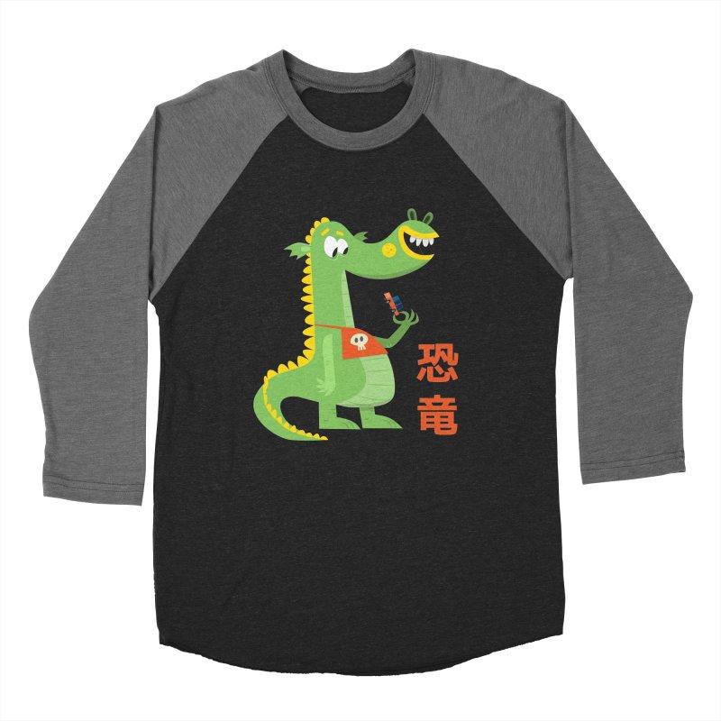 Cute Vintage Flat Cartoon Dinosaur Japanese Men's Baseball Triblend Longsleeve T-Shirt by amirabouroumie's Artist Shop