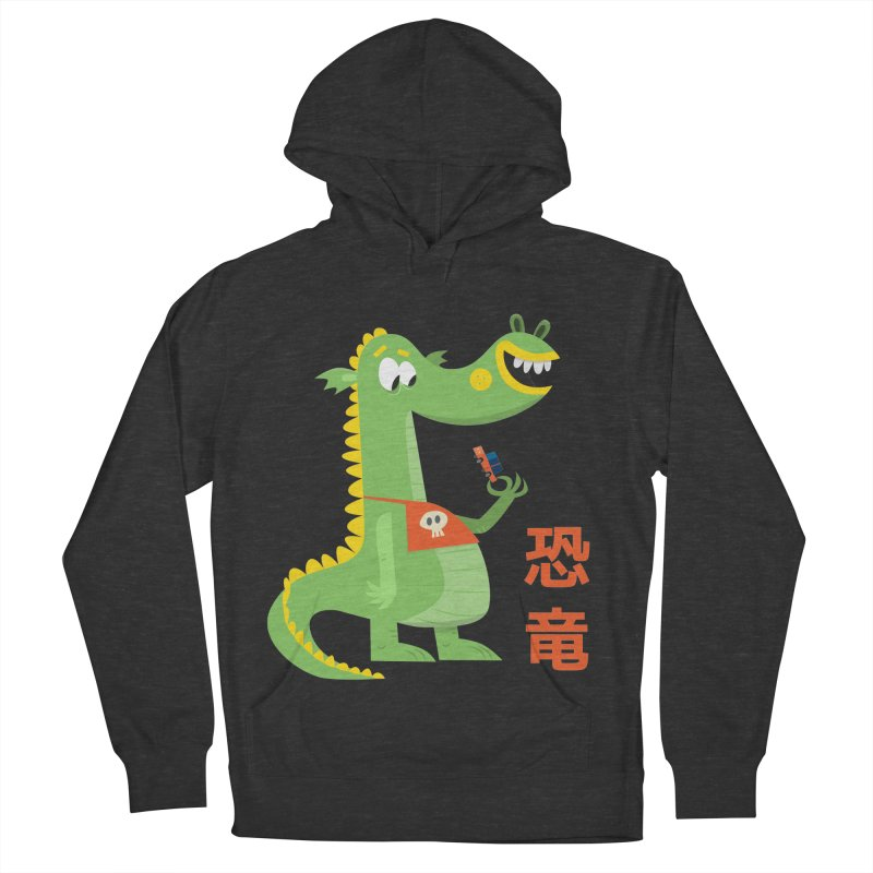 Cute Vintage Flat Cartoon Dinosaur Japanese Men's French Terry Pullover Hoody by amirabouroumie's Artist Shop