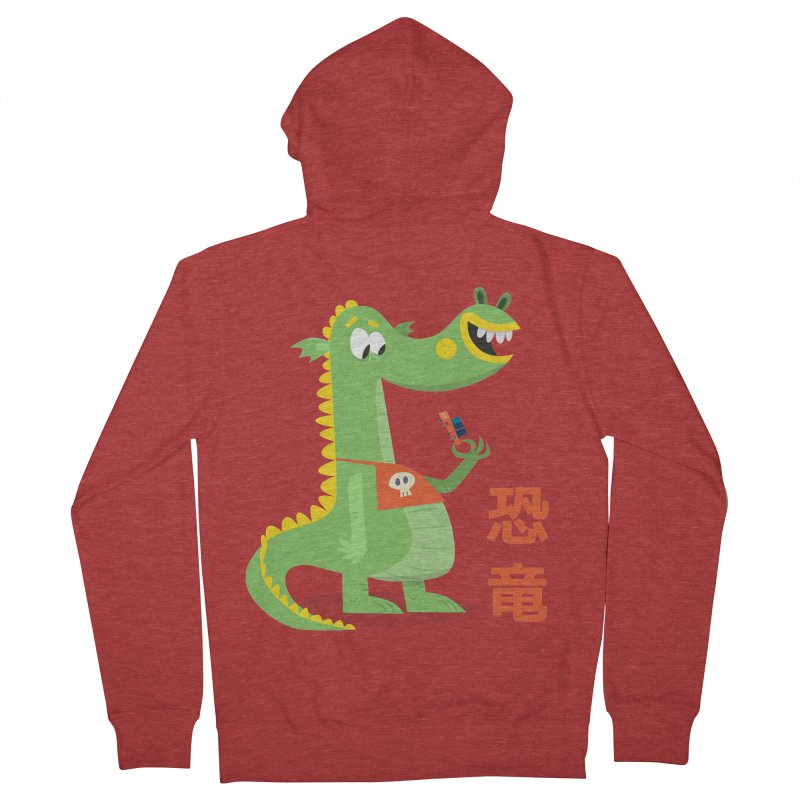 Cute Vintage Flat Cartoon Dinosaur Japanese Men's French Terry Zip-Up Hoody by amirabouroumie's Artist Shop