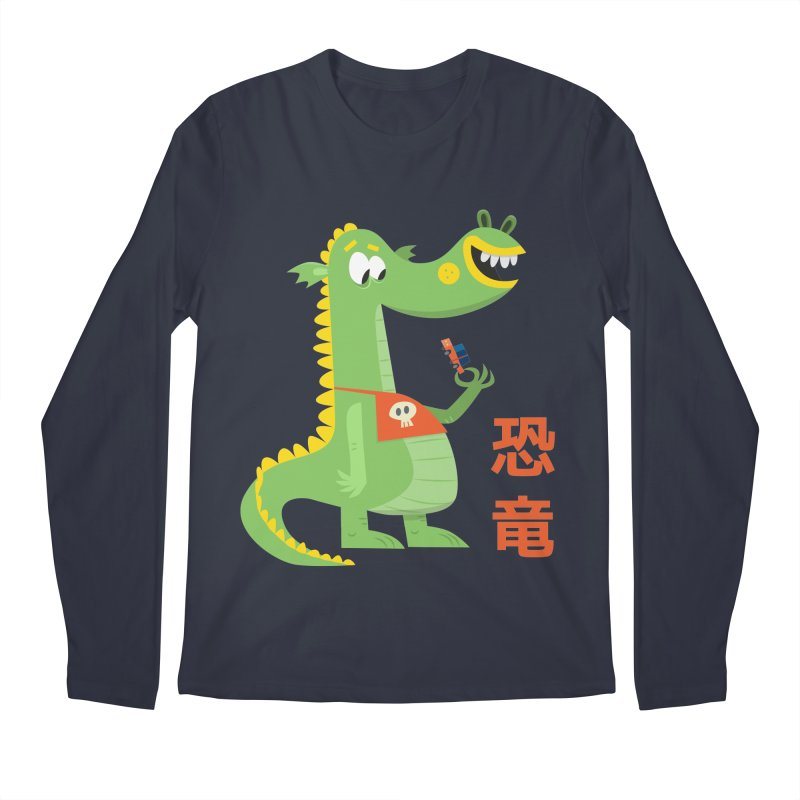 Cute Vintage Flat Cartoon Dinosaur Japanese Men's Regular Longsleeve T-Shirt by amirabouroumie's Artist Shop