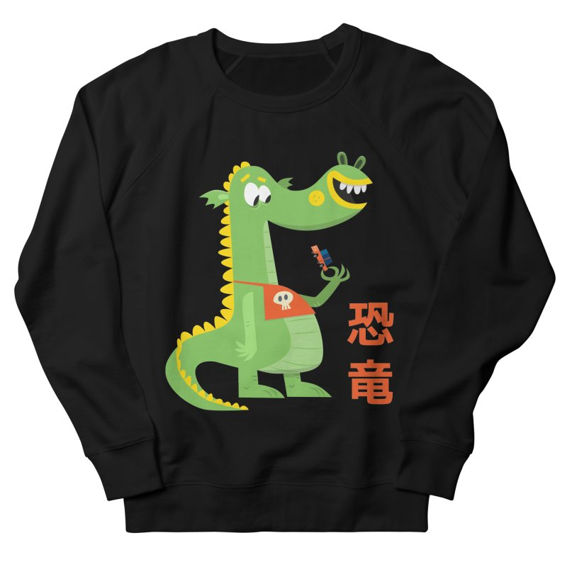 Cute Vintage Flat Cartoon Dinosaur Japanese Men's French Terry Sweatshirt by amirabouroumie's Artist Shop