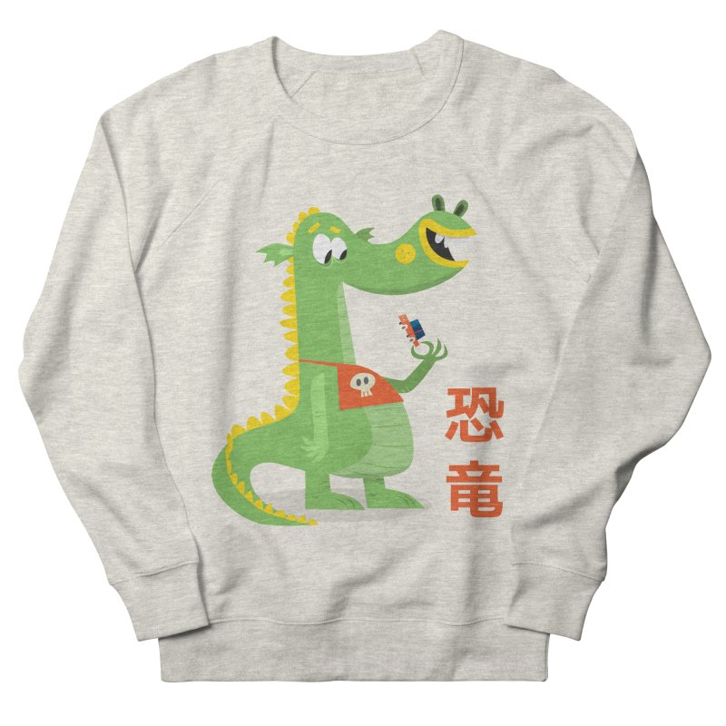 Cute Vintage Flat Cartoon Dinosaur Japanese Men's French Terry Sweatshirt by amirabouroumie's Artist Shop