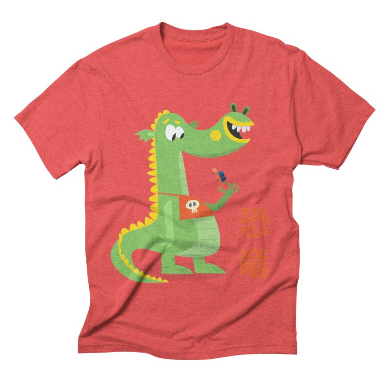 Cute Vintage Flat Cartoon Dinosaur Japanese Men's Triblend T-Shirt by amirabouroumie's Artist Shop