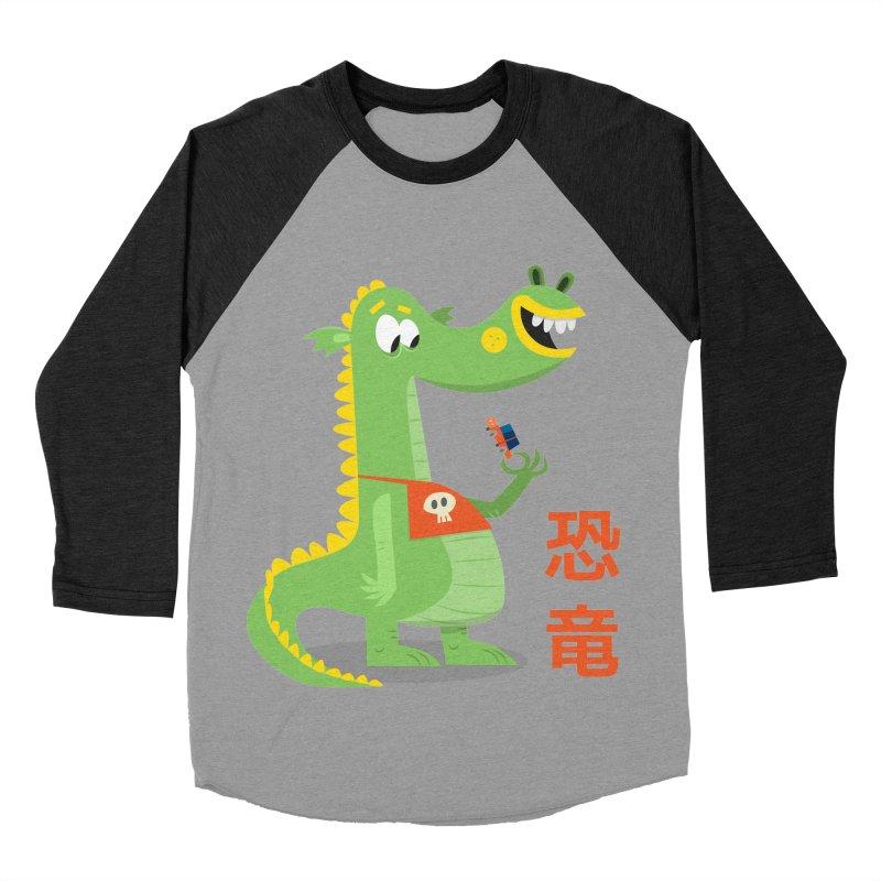 Cute Vintage Flat Cartoon Dinosaur Japanese Women's Baseball Triblend Longsleeve T-Shirt by amirabouroumie's Artist Shop