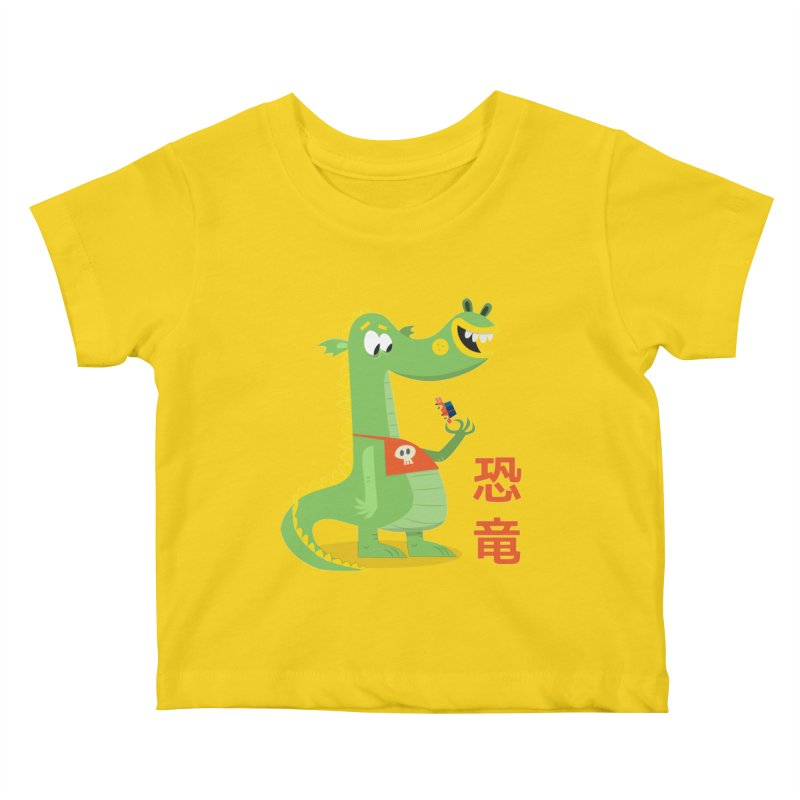 Cute Vintage Flat Cartoon Dinosaur Japanese Kids Baby T-Shirt by amirabouroumie's Artist Shop