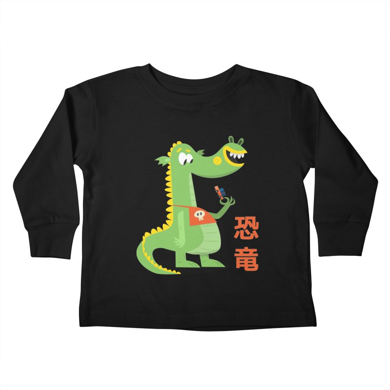 Cute Vintage Flat Cartoon Dinosaur Japanese Kids Toddler Longsleeve T-Shirt by amirabouroumie's Artist Shop
