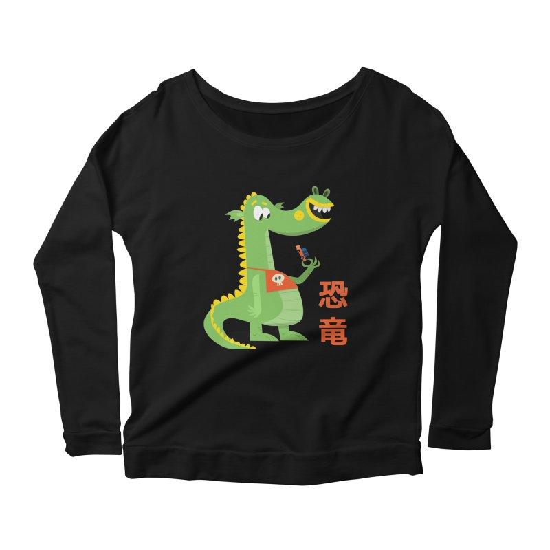 Cute Vintage Flat Cartoon Dinosaur Japanese Women's Scoop Neck Longsleeve T-Shirt by amirabouroumie's Artist Shop