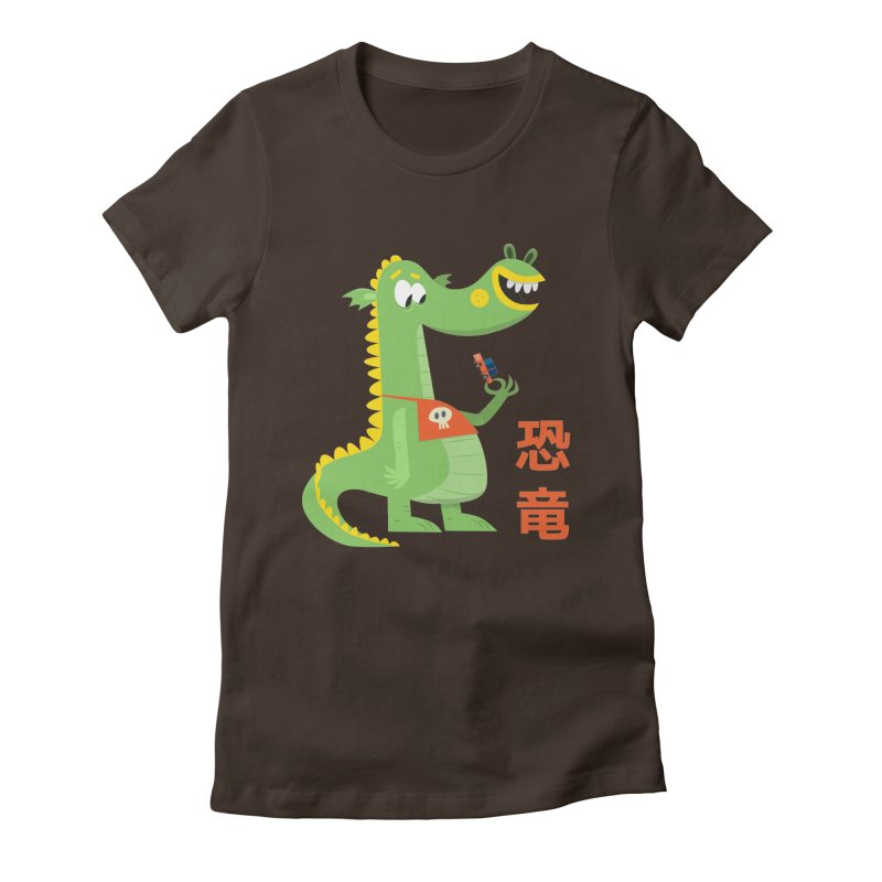 Cute Vintage Flat Cartoon Dinosaur Japanese Women's Fitted T-Shirt by amirabouroumie's Artist Shop