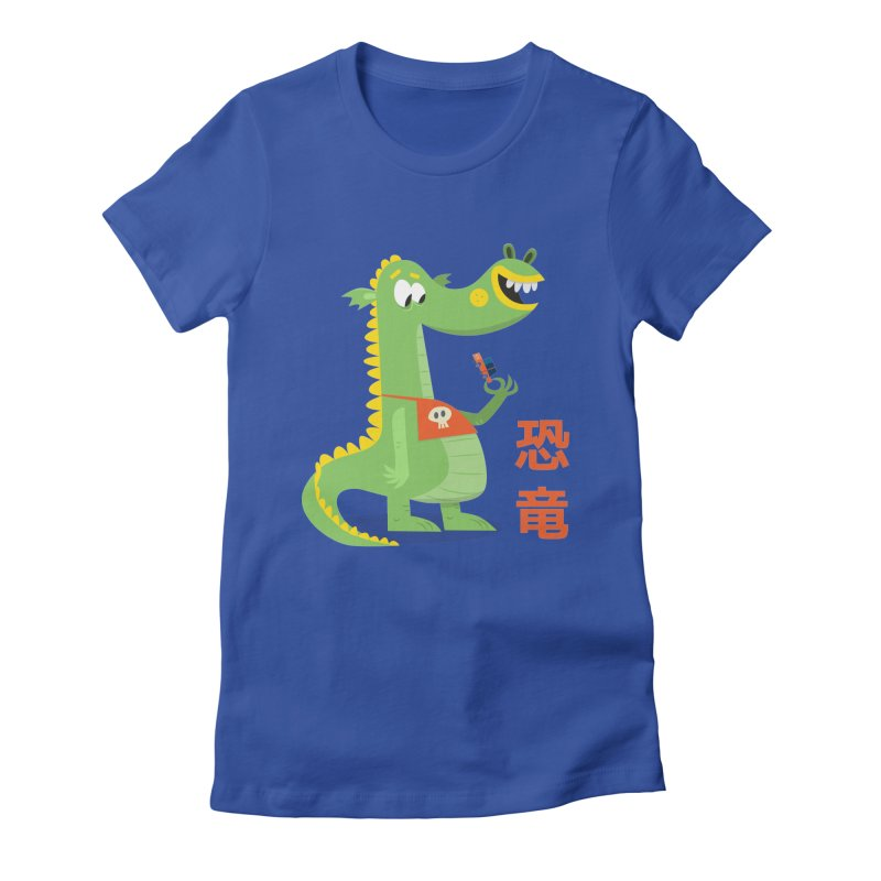 Cute Vintage Flat Cartoon Dinosaur Japanese Women's Fitted T-Shirt by amirabouroumie's Artist Shop