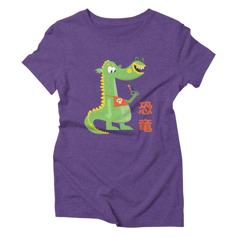 Cute Vintage Flat Cartoon Dinosaur Japanese Women's Triblend T-Shirt by amirabouroumie's Artist Shop