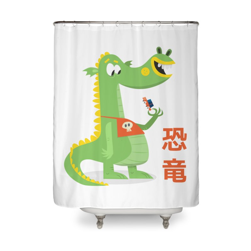 Cute Vintage Flat Cartoon Dinosaur Japanese Home Shower Curtain by amirabouroumie's Artist Shop