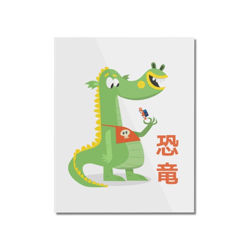 Cute Vintage Flat Cartoon Dinosaur Japanese Home Mounted Acrylic Print by amirabouroumie's Artist Shop