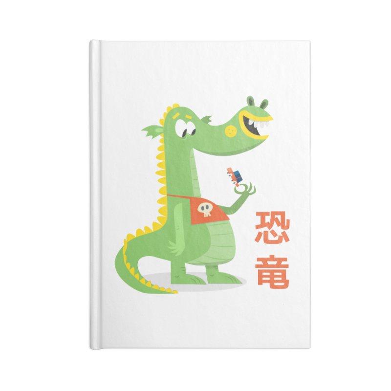 Cute Vintage Flat Cartoon Dinosaur Japanese Accessories Blank Journal Notebook by amirabouroumie's Artist Shop