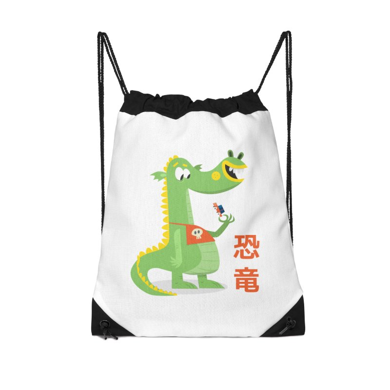 Cute Vintage Flat Cartoon Dinosaur Japanese Accessories Drawstring Bag Bag by amirabouroumie's Artist Shop