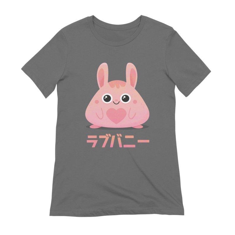 Kawaii Valentine Love Bunny Vintage Pink Japanese Kpop heart Women's Extra Soft T-Shirt by amirabouroumie's Artist Shop
