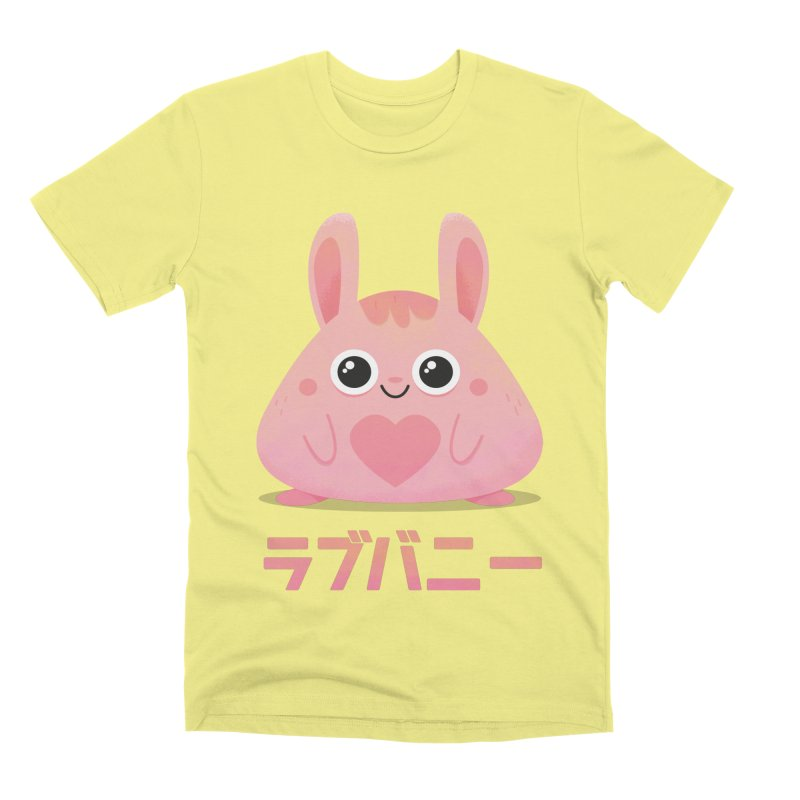 Kawaii Valentine Love Bunny Vintage Pink Japanese Kpop heart Men's Premium T-Shirt by amirabouroumie's Artist Shop