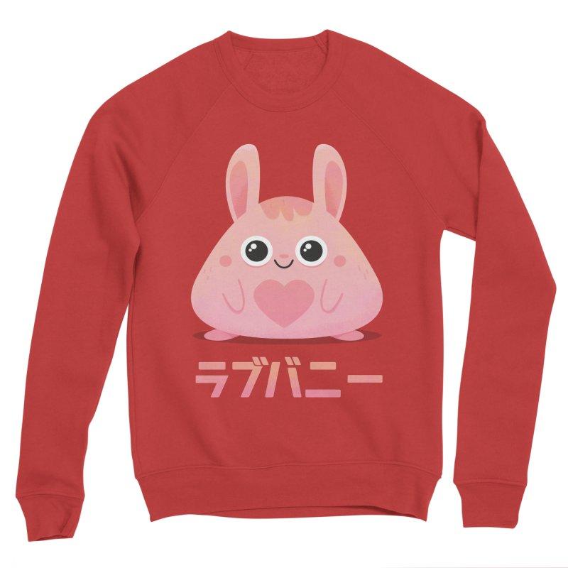Kawaii Valentine Love Bunny Vintage Pink Japanese Kpop heart Women's Sponge Fleece Sweatshirt by amirabouroumie's Artist Shop