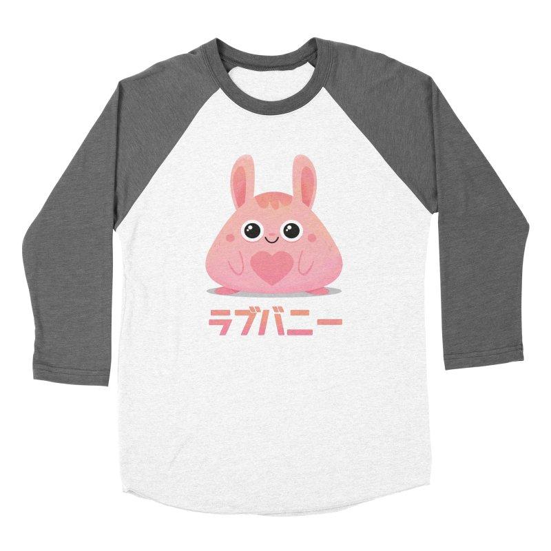 Kawaii Valentine Love Bunny Vintage Pink Japanese Kpop heart Men's Baseball Triblend Longsleeve T-Shirt by amirabouroumie's Artist Shop