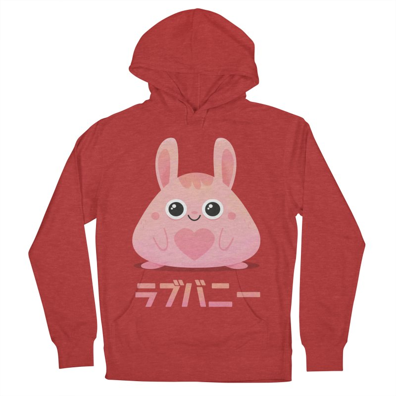 Kawaii Valentine Love Bunny Vintage Pink Japanese Kpop heart Men's French Terry Pullover Hoody by amirabouroumie's Artist Shop