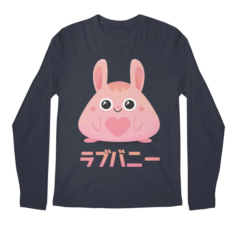 Kawaii Valentine Love Bunny Vintage Pink Japanese Kpop heart Men's Regular Longsleeve T-Shirt by amirabouroumie's Artist Shop