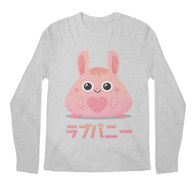 Kawaii Valentine Love Bunny Vintage Pink Japanese Kpop heart Men's Longsleeve T-Shirt by amirabouroumie's Artist Shop