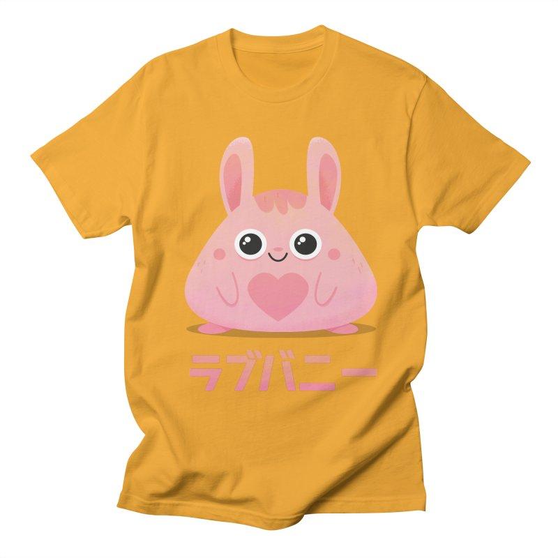 Kawaii Valentine Love Bunny Vintage Pink Japanese Kpop heart Men's Regular T-Shirt by amirabouroumie's Artist Shop