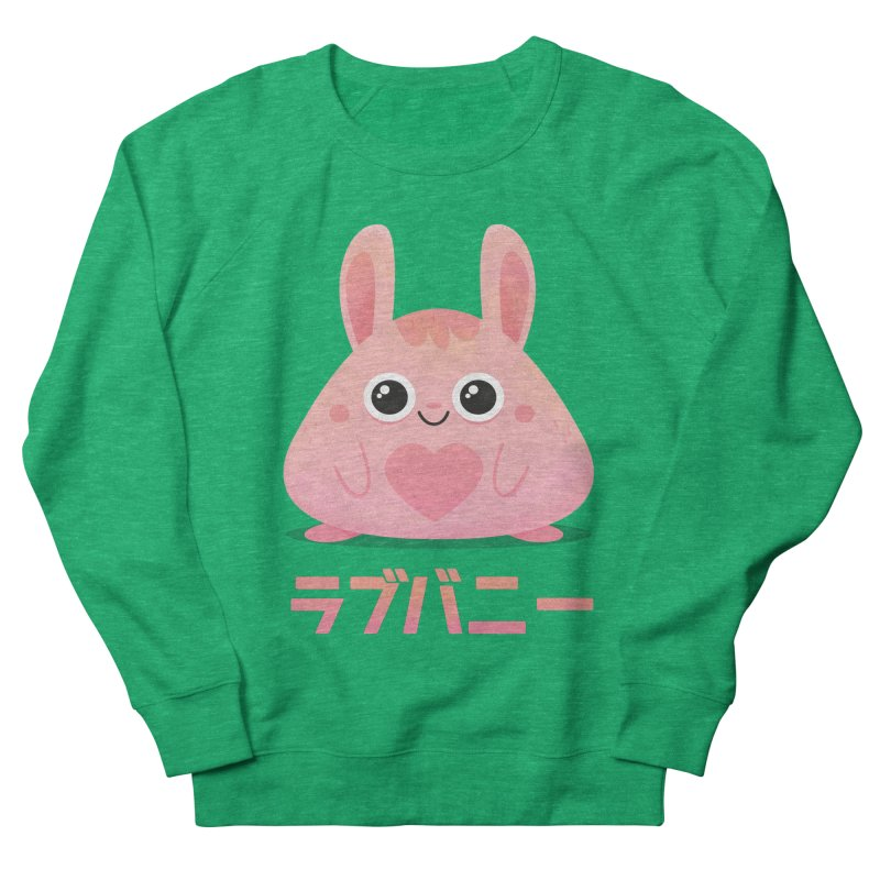Kawaii Valentine Love Bunny Vintage Pink Japanese Kpop heart Women's French Terry Sweatshirt by amirabouroumie's Artist Shop