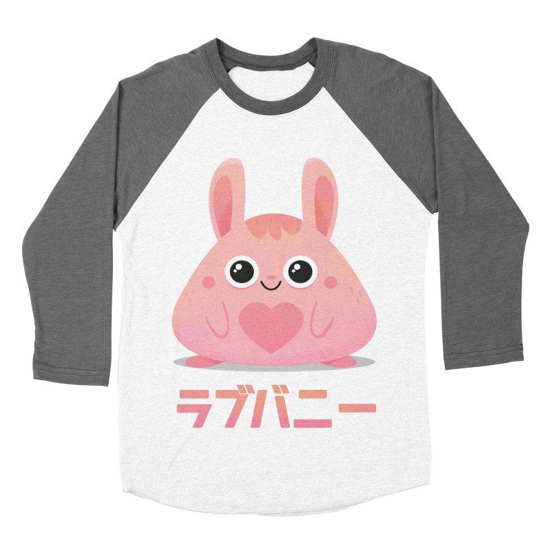 Kawaii Valentine Love Bunny Vintage Pink Japanese Kpop heart Women's Baseball Triblend Longsleeve T-Shirt by amirabouroumie's Artist Shop