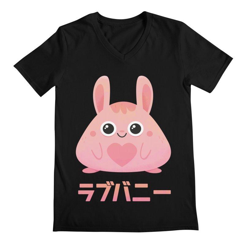 Kawaii Valentine Love Bunny Vintage Pink Japanese Kpop heart Men's Regular V-Neck by amirabouroumie's Artist Shop