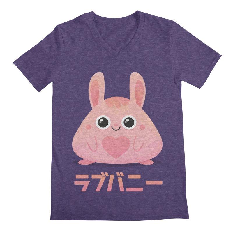 Kawaii Valentine Love Bunny Vintage Pink Japanese Kpop heart Men's V-Neck by amirabouroumie's Artist Shop