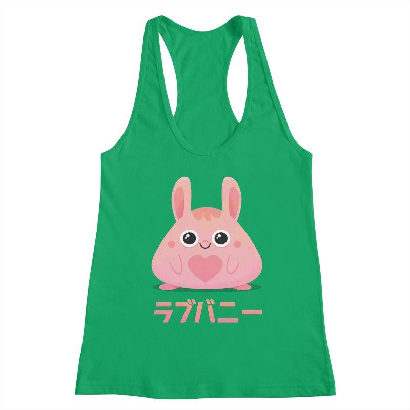 Kawaii Valentine Love Bunny Vintage Pink Japanese Kpop heart Women's Racerback Tank by amirabouroumie's Artist Shop