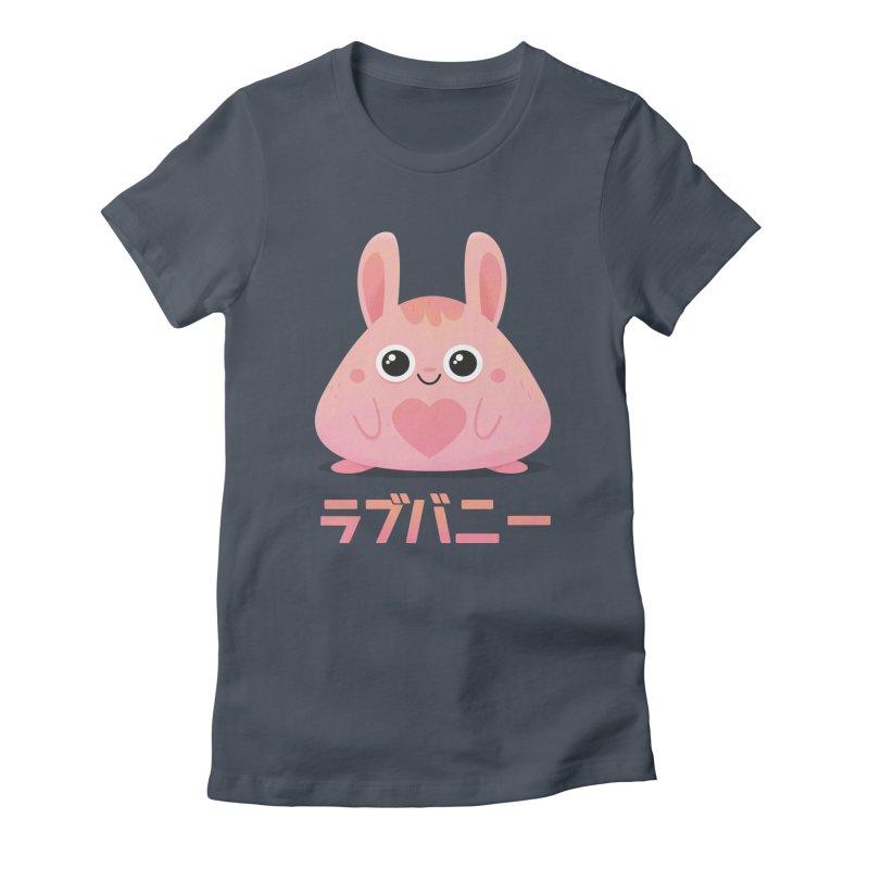 Kawaii Valentine Love Bunny Vintage Pink Japanese Kpop heart Women's T-Shirt by amirabouroumie's Artist Shop