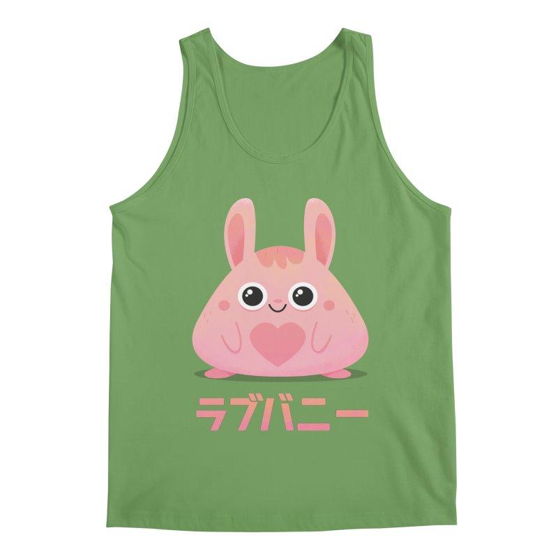 Kawaii Valentine Love Bunny Vintage Pink Japanese Kpop heart Men's Tank by amirabouroumie's Artist Shop