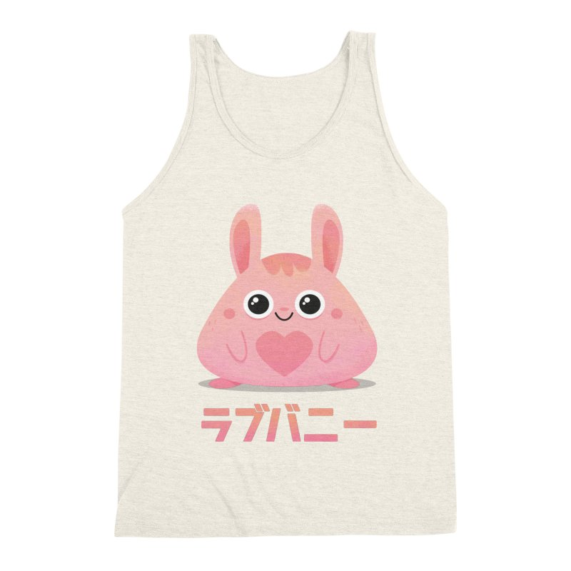 Kawaii Valentine Love Bunny Vintage Pink Japanese Kpop heart Men's Triblend Tank by amirabouroumie's Artist Shop