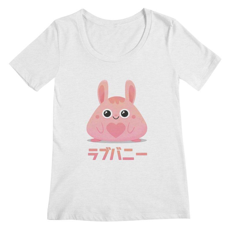 Kawaii Valentine Love Bunny Vintage Pink Japanese Kpop heart Women's Regular Scoop Neck by amirabouroumie's Artist Shop