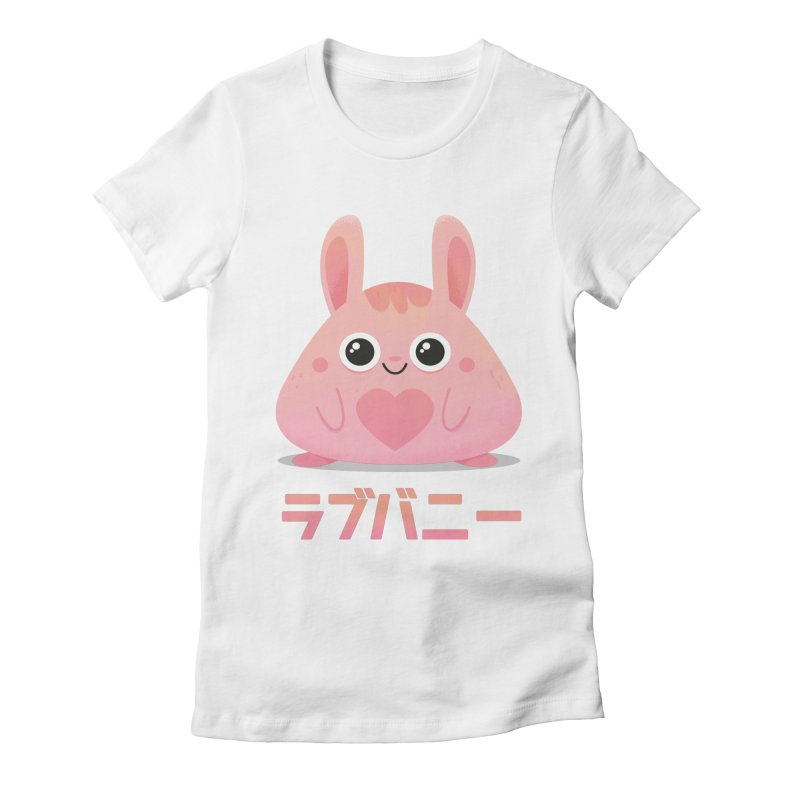 Kawaii Valentine Love Bunny Vintage Pink Japanese Kpop heart Women's Fitted T-Shirt by amirabouroumie's Artist Shop